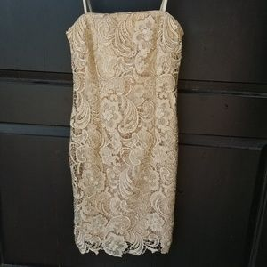 CACHE SZ 0 STRAPLESS LACE DRESS MOB WEDDING